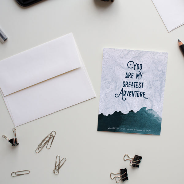 Valentine's Day flat card You Are My Greatest Adventure (Teal)