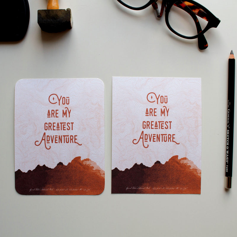 Valentine's Day flat card You Are My Greatest Adventure (Camel)