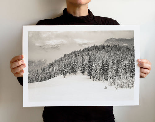 Matte Print | Black and White: Squaw Alpine 9844 - Lemonee on the Hills