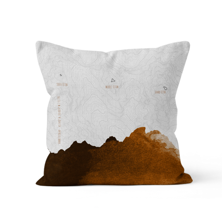 Topo Map of The Tetons in Camel + White. Throw Pillow of Grand Teton NP.