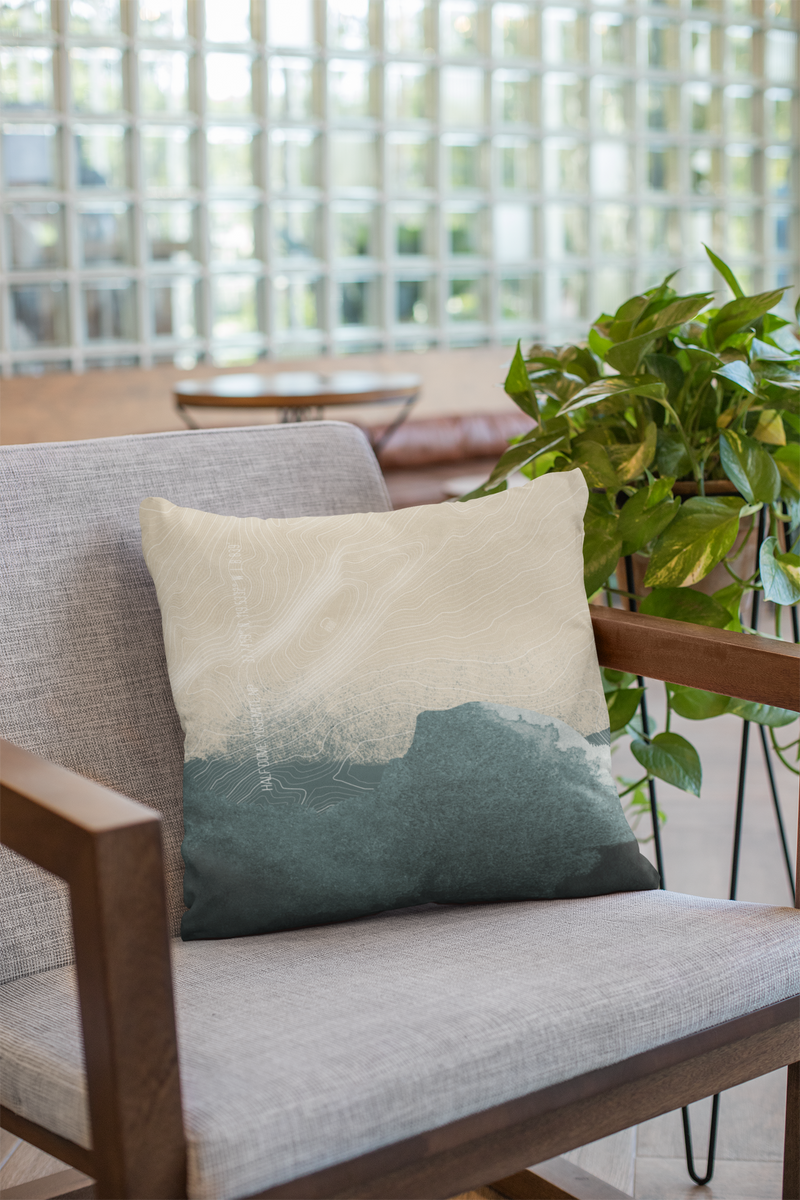 Topo Map of the Half Dome in Blue + Cream. Throw Pillow of Yosemite NP