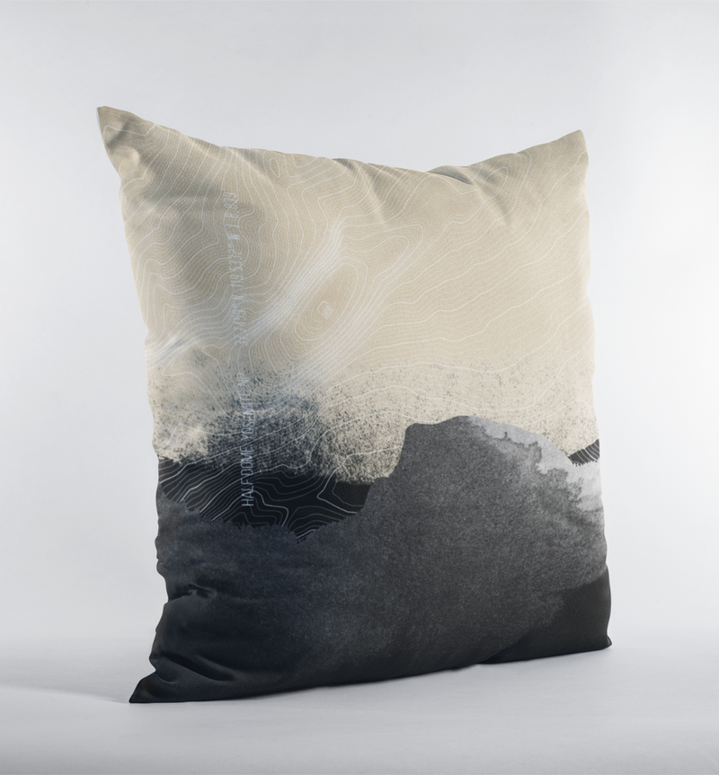 Topo Map of the Half Dome in Black + Cream. Throw Pillow of Yosemite NP