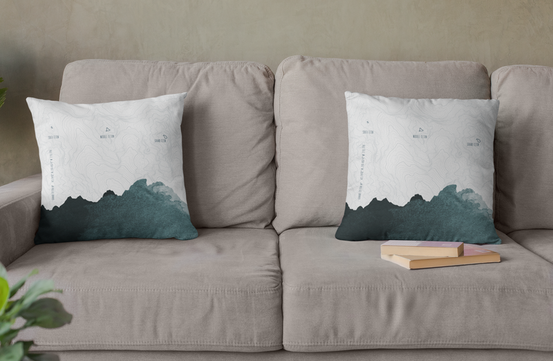 Topo Map of The Tetons in Blue + White. Throw Pillow of Grand Teton NP.