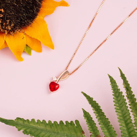 Heart-Shaped Pendant Necklaces With Birthstone