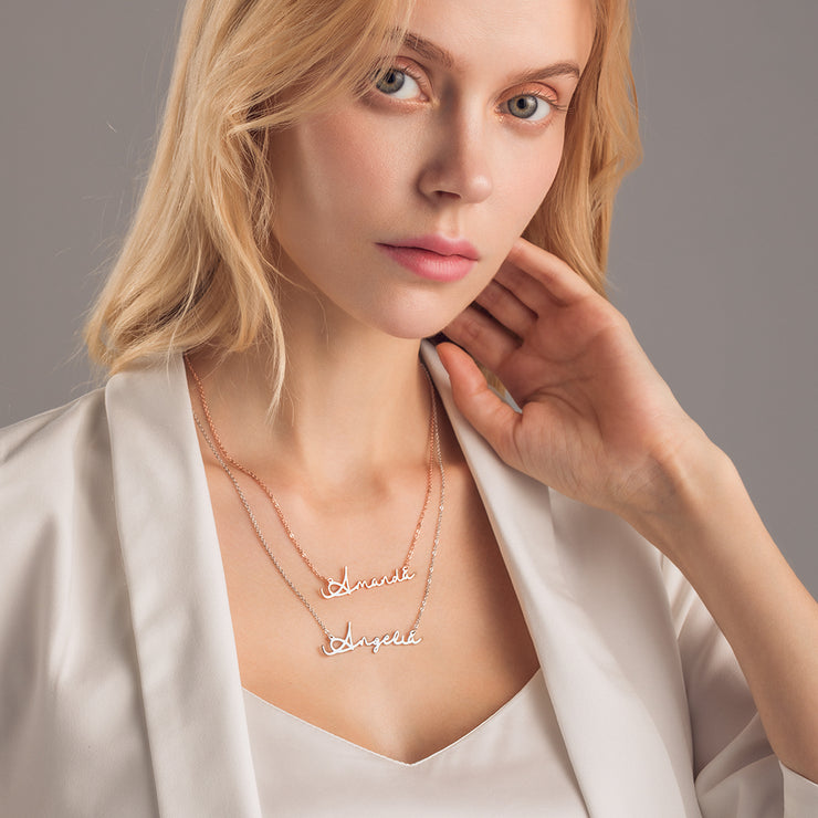 Dunali Gold Plating Sterling Silver Classic Name Necklace