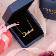 Small Classic Name Necklace in Gold Plated Sterling Silver