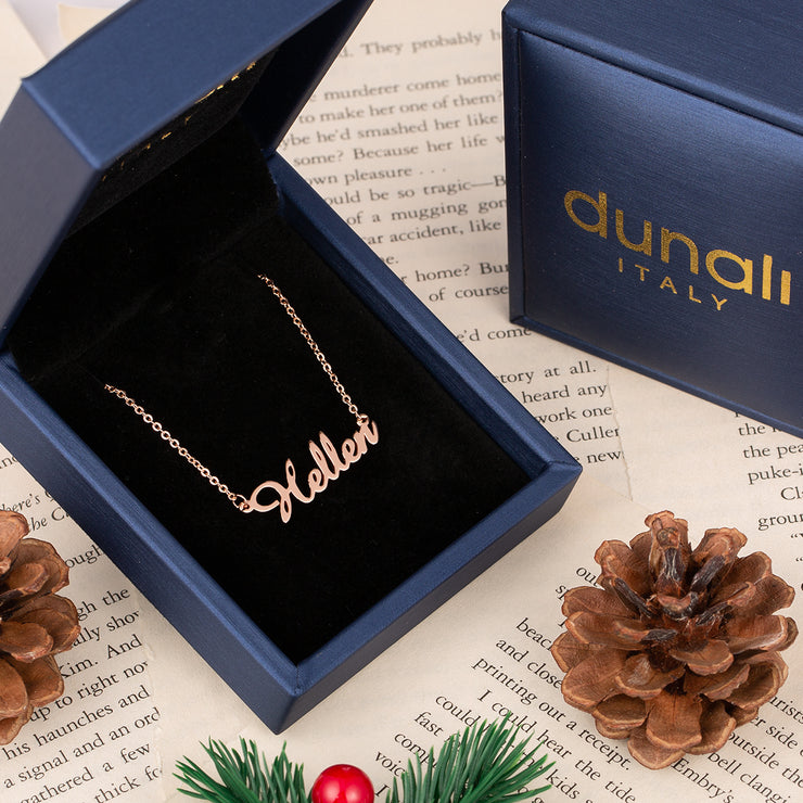 Rose Gold Personalized Classic Name Necklace in Sterling Silver