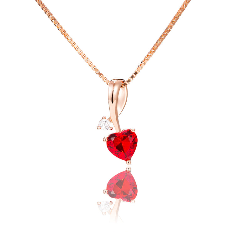 Rose Gold Plated Heart-Shaped Pendant Necklaces with Birthstone
