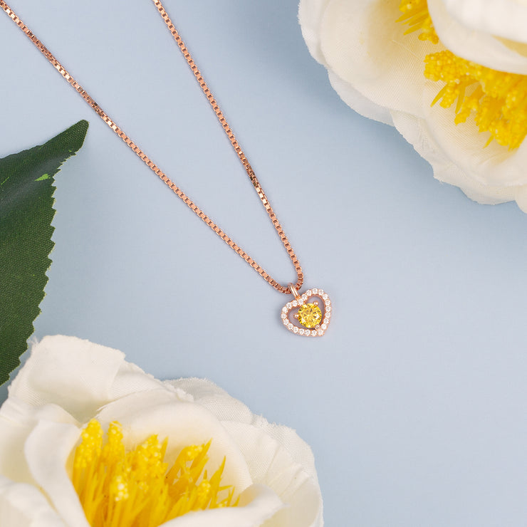 Rose Gold Plated Open Heart Silver Pendant Necklace With Birthstone