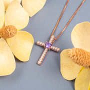 Rose Gold Plated Diamond Cross Silver Pendant Necklace With Birthstone