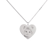 Sterling Silver Standard Heart Shape Necklace Custom Picture Engraved Pendant