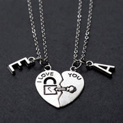 Sterling Silver Broken Heart Shape Initials Necklace Set