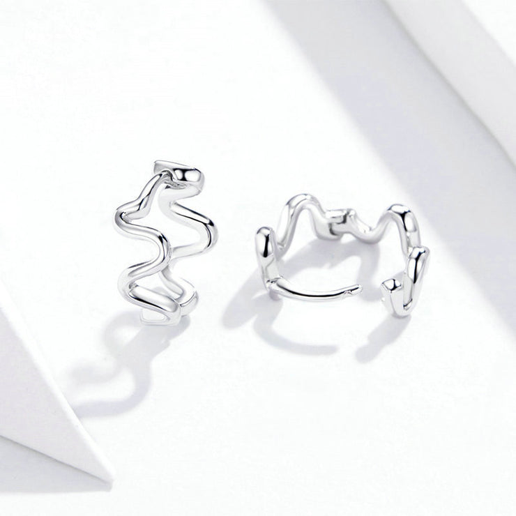 Arc Of Heartbeat Sterling Silver Stud Earrings
