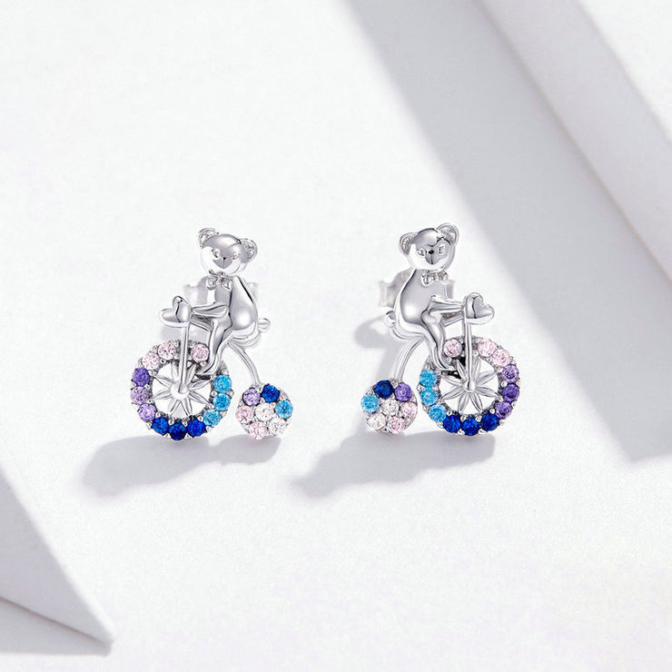 Bear And Bicycle White Gold Stud Earrings