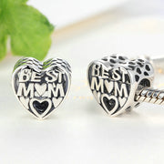 Best Mom Sterling Silver Hollow Heart Bead