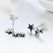 Black Shooting Star Sterling Silver Ear Climbers