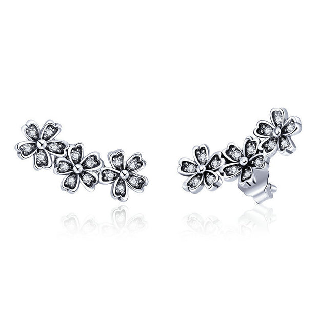 Blossoming Flowers Sterling Silver Ear Climbers