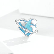Blue Earth Sterling Silver Heart-shaped Charm Bead