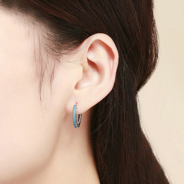 Blue Little sparkle Sterling Silver Hoop Earrings