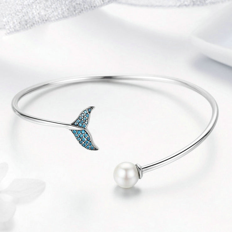 Blue Mermaid Tail Sterling Silver Open Bangle