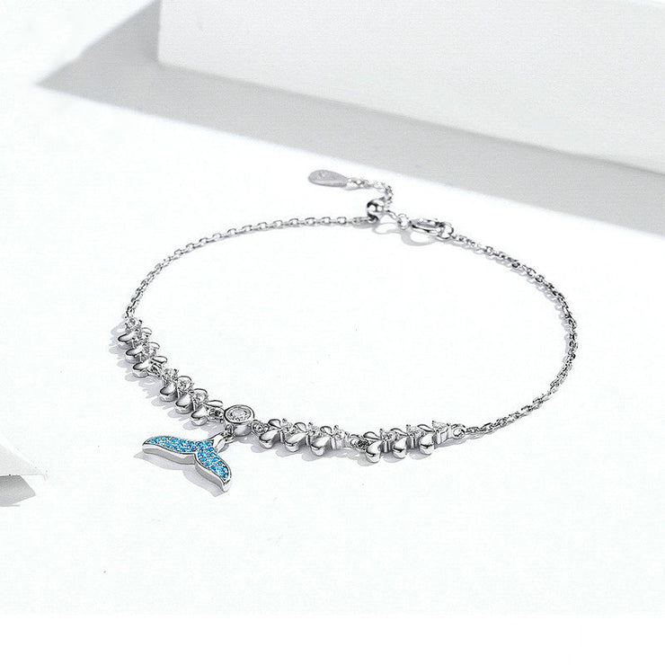 Blue Mermaid Tail White Gold Charm Bracelet