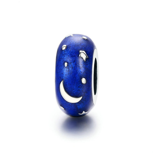 Blue Starry Sterling Silver Charm Spacer Bead