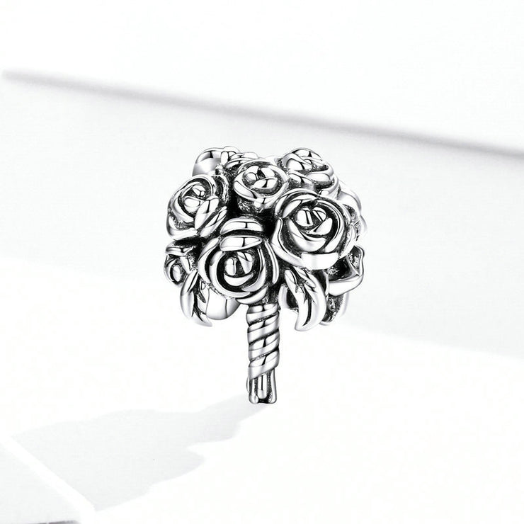 Bridal Bouquet Flower Sterling Silver Charm Bead