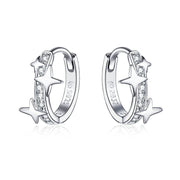 Brighter Stars White Gold Buckle Hoop Earrings