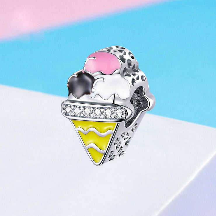 Color Ice Cream Sterling Silver Charm Bead