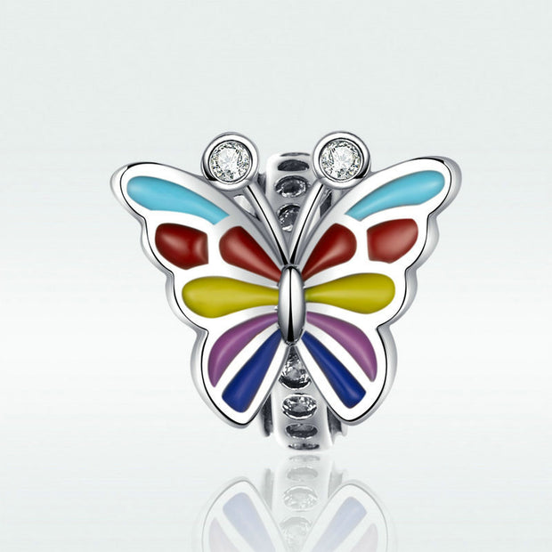 Colorful Butterfly Sterling Silver Handmade Charm Bead