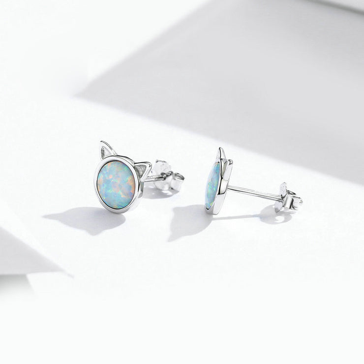 Cute Cat Opal Sterling Silver Stud Earrings