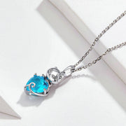 Cute Cat Sterling Silver Necklace With Blue Stone