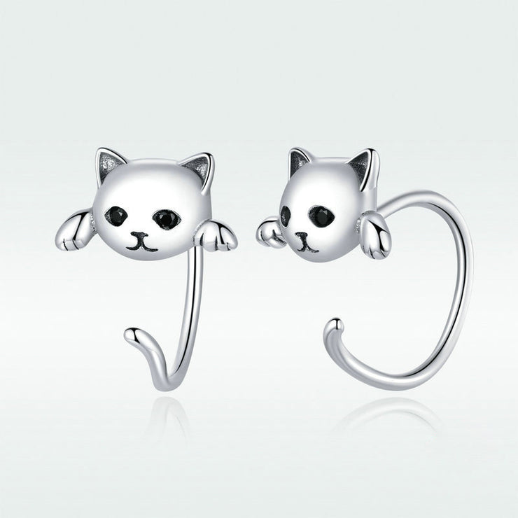 Cute Cat Sterling Silver Open Stud Earrings