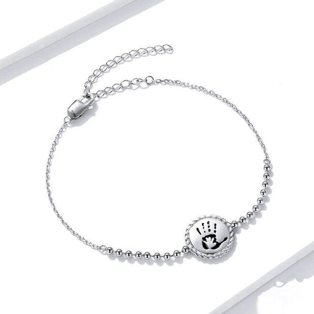 Cute Footprint Sterling Silver Chain Bracelet