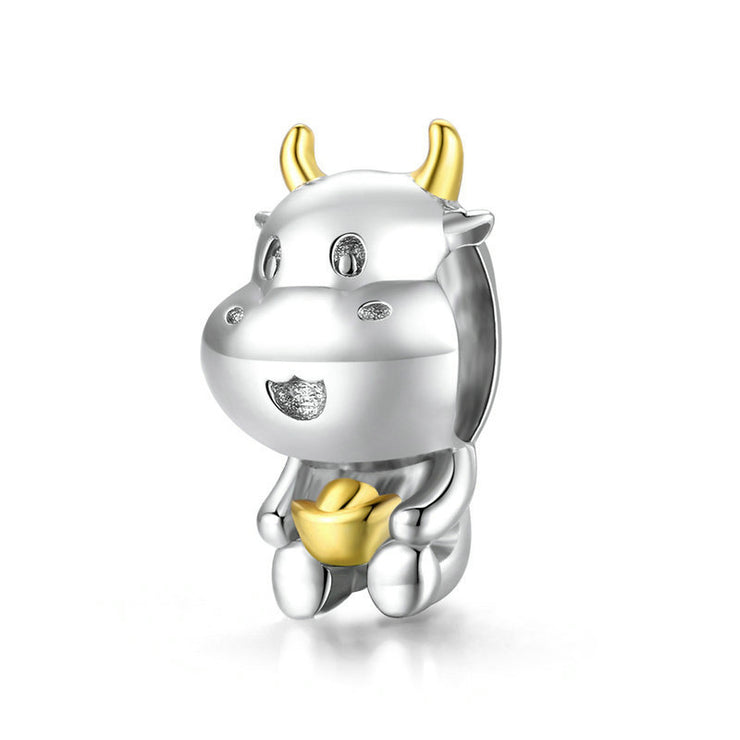 Cute Fortune Cow Sterling Silver Animal Charm Bead