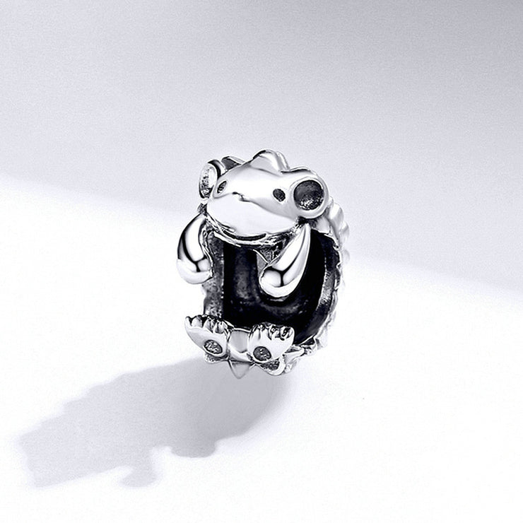 Cute Little Hedgehog Sterling Silver Handmade Charm Bead