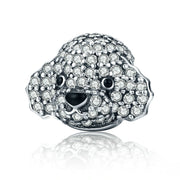 Cute Poodle Sterling Silver Animal Charm Bead