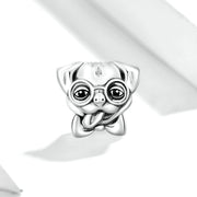 Cute Puppy Sterling Silver Animal Charm Bead