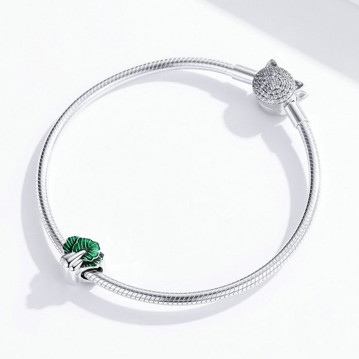 Cute Spinach Sterling Silver Charm Bracelet Bead