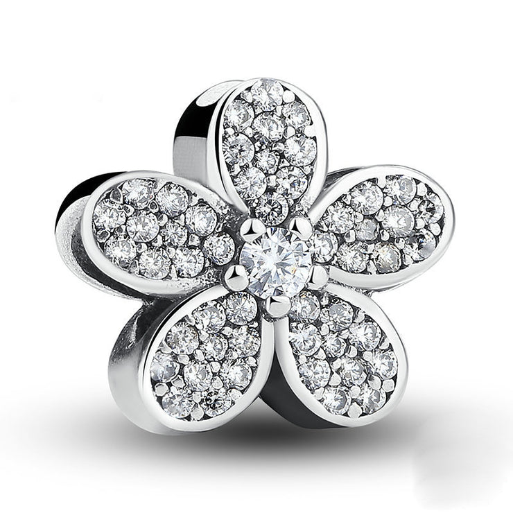 Daisy Flower Sterling Silver Sparkle Charm Bead
