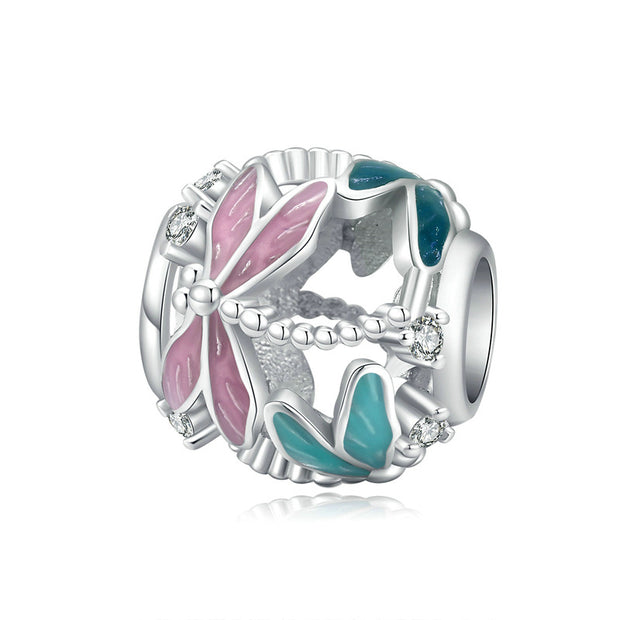 Dragonfly Sterling Silver Hollow Round Charm Bead