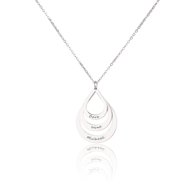 Engraved Sterling Silver Family Pendant Drop Shape Necklace