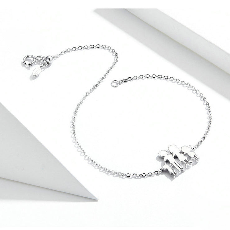 Family Style Sterling Silver Chain Charm Bracelet