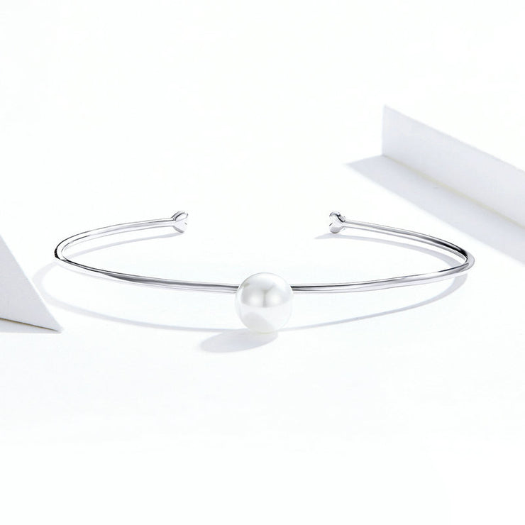 Fashion Shell Bead Sterling Silver Open Bangle