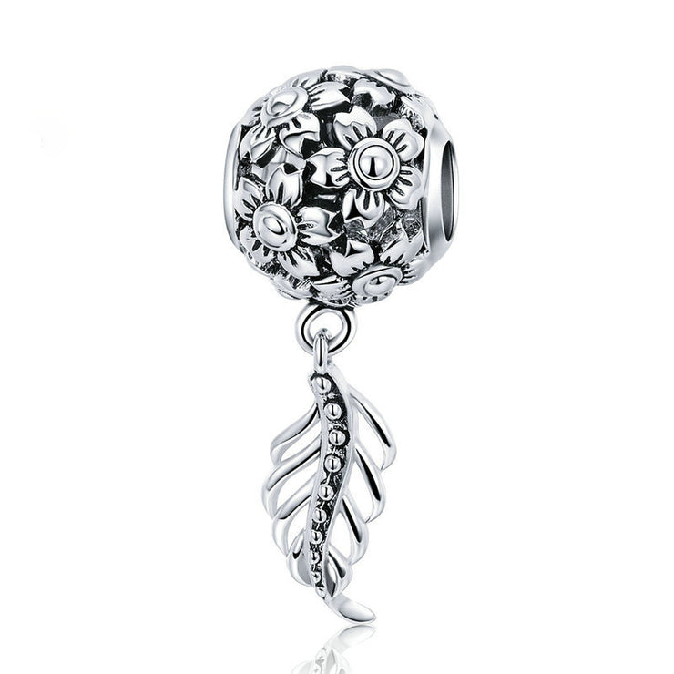 Flower And Leaf Sterling Silver Charm Bracelet Bead