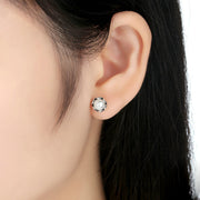 Flower Freshwater Pearl Sterling Silver Stud Earrings
