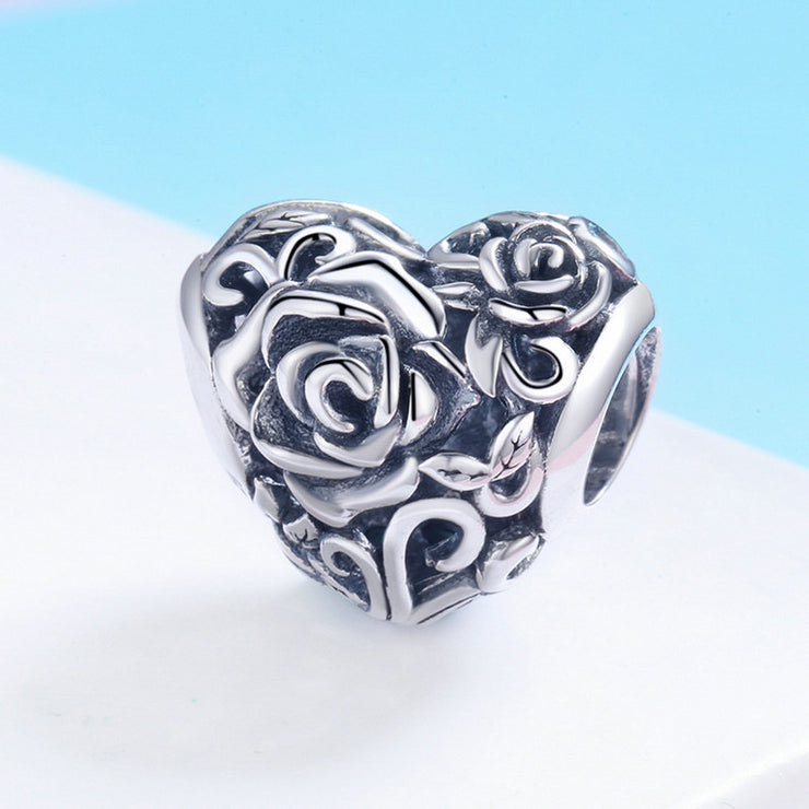 Gentle Rose Sterling Silver Heart-shaped Charm Bead