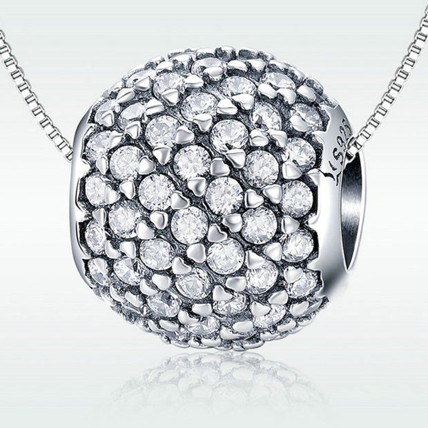 Glamour Shiny Sterling Silver Ball Charm Bead
