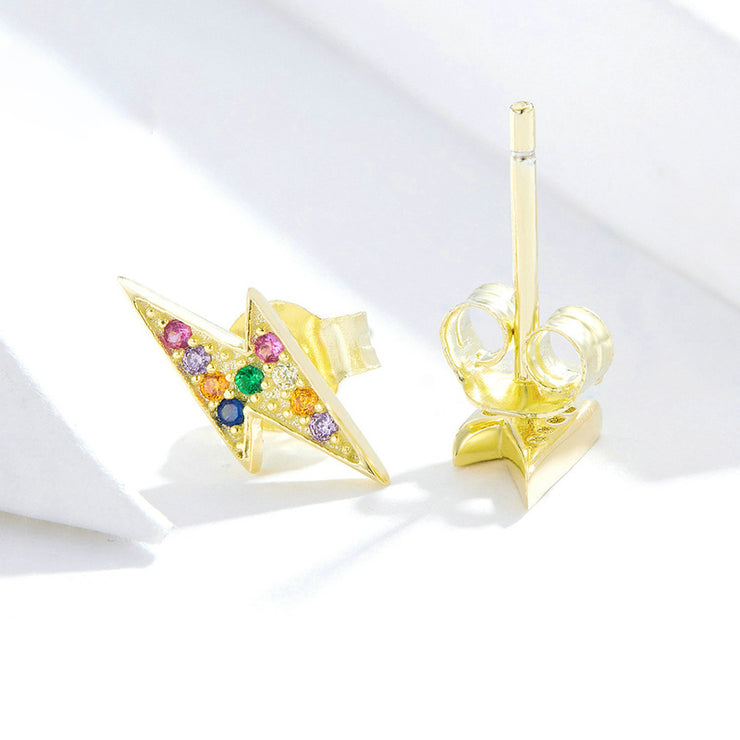 Gold Lightning Sterling Silver Stud Earrings