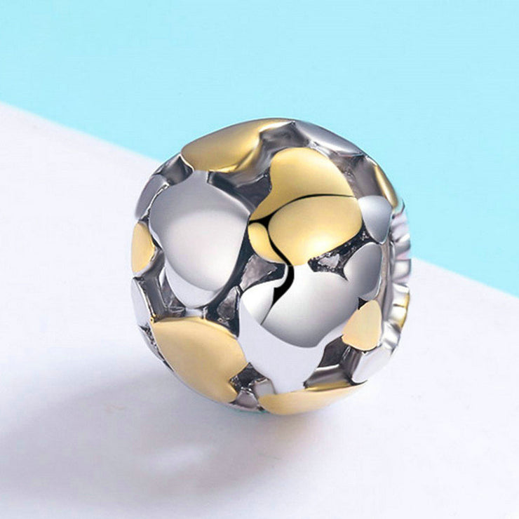 Gold Luxury Heart Sterling Silver Charm Bead